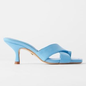 Zara square toe heel leather slides